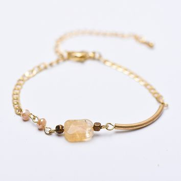 Small Fresh Style Champaign Natural Stone Burning Bracelet-180319