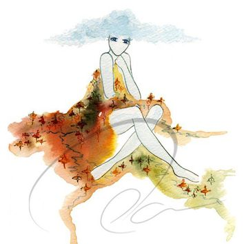 Earthen Blanket - Art Print Watercolor nature fashion sketch spirit woman mountain dress rivers blue cloud bathroom bedroom Oladesign 5x7