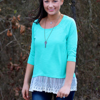 Oh La La Lace Trim Top {Mint}
