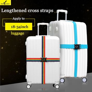 GIFT Travel cross straps Strong Nylon Belt available size 18 to 34 inches suitcase TSA three layer password lock Strap 13016