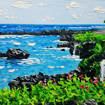"Palette Knife Beach Painting 20"" Original Oil Painting on Canvas, Seascape Art, Tropical Mountains with Waterfalls, by Ryan Kimba"