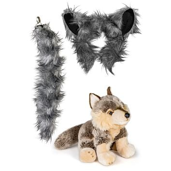 Stuffed Plush Wolf Ears Headband and Tail Set with Baby Plush Toy Wolf Bundle for Pretend Play Animals Dress Up