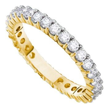 14k White Gold Womens Round Diamond Pave Wedding Anniversary Band 2.00 Cttw