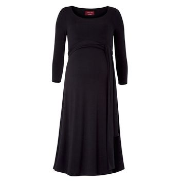 Women Maternity Nursing Dress Ruched Robe Round Neck 3/4 Sleeve Pregnancy Clothes With Belt Black L