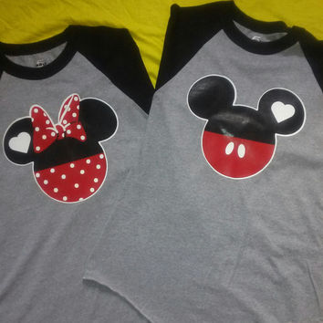 Free Shipping for US Mickey and Minnie Mouse Baseball Couples T-Shirts