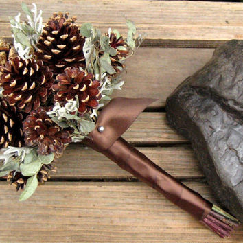 Winter Woodland Cone Bouquet - Dried Bridesmaid Bouquet - Pine Cone, Eucalyptus & Dusty Miller