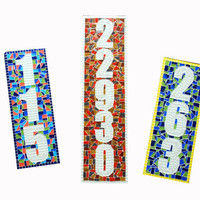 Mosaic Address Plaque, Outdoor House Number Sign
