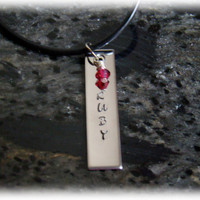 Stainless Steel Bar Necklace with Name on It and Birthstone