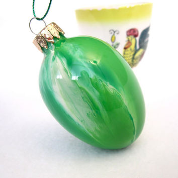 Easter Egg Ornament Painted Inside Green Unique Handmade OOAK Collectible Glass Decoration