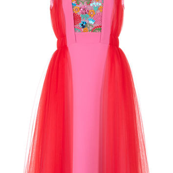 Embroidered Color-Block Tulle And Crepe Dress | Moda Operandi