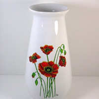 Vase Poppy Hand Painted Red Poppies White by PaintingByElaine