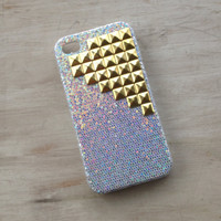 Ready to ship Silver sparkle iphone 4 case with gold tone pyramid studs by MellaFina
