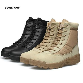 Outdoor Tactical Military Combat Boots Men Breathable Canvas Climbing Trekking Mountain Sneakers Shoe Man Hiking Hunting Shoes