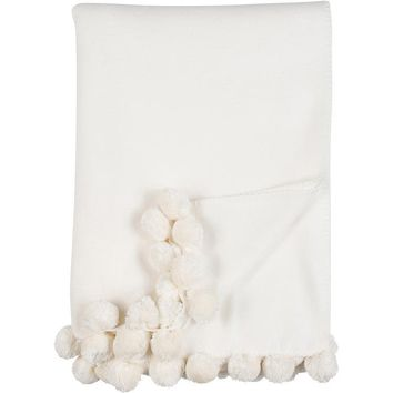 Luxxe Pom Pom Throw in Ivory