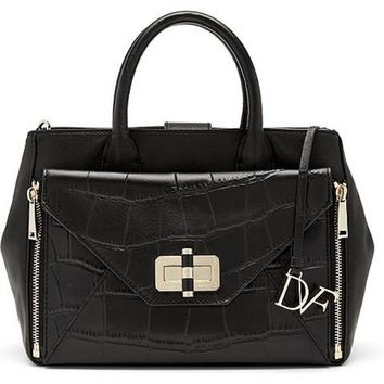 DVF Diane von Furstenberg Secret Agent Tote BAG Black Croc Embossed