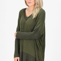 Brushed Hacci V-neck Sweater Tunic {Olive}
