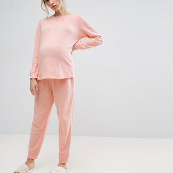 ASOS Maternity Lounge Longline Sweat and Jogger Set at asos.com