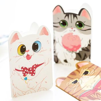8pcs/pack Kawaii Cat Greeting Card Postcard Birthday Gift Card Set Message Card Letter Envelope Gift Card