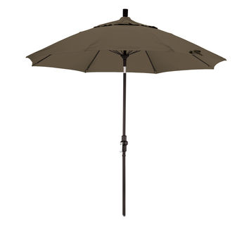 9 Foot Sunbrella 1A Fabric Fiberglass Rib Crank Lift Collar Tilt Aluminum Patio Umbrella with Black Pole