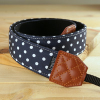 Camera Strap - Black Polka Dot for DSLR and Mirrorless