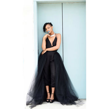 Black Tulle Overskirt|  Detachable Tulle Skirt, Long Tulle Skirt, Tulle Wedding Skirt