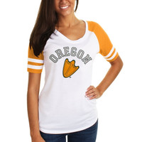 Oregon Ducks Ladies Meshey Raglan T-Shirt - White/Yellow