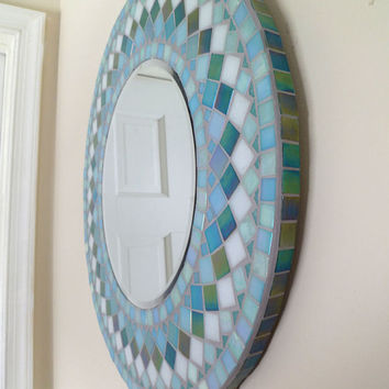 MIRROR MOSAIC round   Wall  Mirror Choose size Teal green  Rectangular,Square,Oval custom order