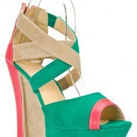 CRISSCROSS STRAP COLORBLOCK WEDGE @ KiwiLook fashion