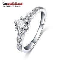 LZESHINE Wedding Ring Classic Design Silver Plated 6 Prongs 0.5ct Simulated Diamond Promise Ring For Women  CRI0049
