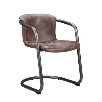 Freeman Modern Industrial Dining Chair Light Brown Distressed Leather (Set Of 2)