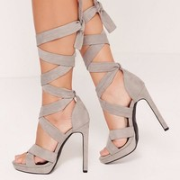 Missguided - Wrap Around Strap Platform Heels Grey