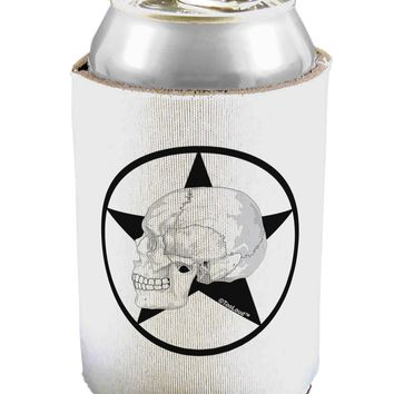 White Skull With Star Can / Bottle Insulator Coolers by TooLoud