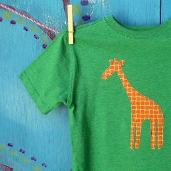 Giraffe Appliqued Tshirt Green Shortsleeve Boys XS by OddEDesigns