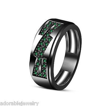 Men's Full Black Engagement Wedding Band Ring w/ Emerald in .925 Sterling Silver