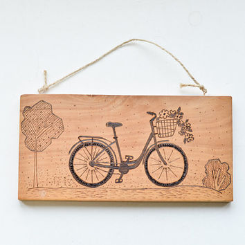 Woodburned City Bike Art - Wooden Pyrography Wall Hanging - Beige and Brown Home Decor - Rustic Eco Art -  Woodburning