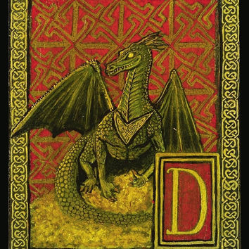 D is for Dragon Medieval Alphabet Letter 8x10 by EmilyBalivet