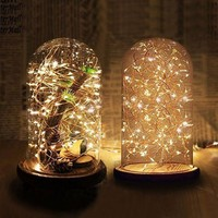 Clear Glass Display Dome with Wooden Base Wedding Decoration Flower Vases Glass Domes Mother Day Gifts Valentine's Day Present