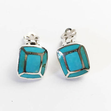 Sterling Silver Turquoise Clip On Earrings, Square Turquoise Inlay Jewelry, Vintage Southwest Artisan Jewelry