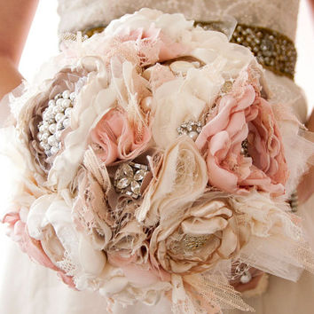 Fabric Flower Wedding Bouquet, Brooch Bouquet, Silk style Cabbage Roses with rhinestone and pearl brooches, Shabby Chic Bouquet by Cultivar
