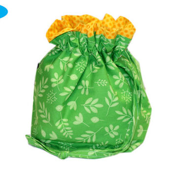 NEW Project Bag made from Organic Fabrics | Leaf Knitting Bag | Green Knitting Pouch