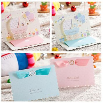 Free Shipping 10pcs Pink Girl/ Blue Boy 3D Carton Invitation Cards Baby Full Moon Birthday Party Children's Day Invitation Card