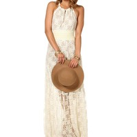 Sale-sharice- Creme Long Lace Dress