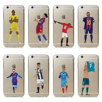 Football Star Griezmann Cristiano Ronaldo Salah Neymar Hard PC Phone Case Cover For iPhone 5 5S 6 6s Plus 7 7Plus 8 Plus X 10