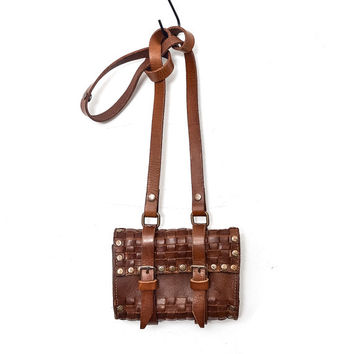 Woven Italian Leather Purse - Hip Bag - Brown - Gift under 75
