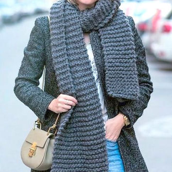 Oversized Scarf  Hand Knit Chunky Scarf  Extra Long Scarf Cowl Neckwarmer Men Women Gift Ideas Made to Order