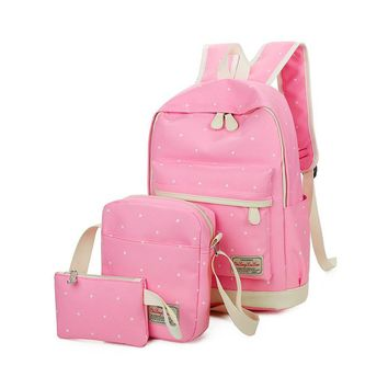 Summer New Fashion 3 Pcs/set Girl School Backpack Travelling Backpack College Bags for Teenagers Women Cheap Mochila Escolar