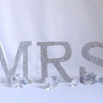 Glittered Mr and Mrs, Wood MR & MRS, wedding table letters, Sign in table letters, Bridal table Wood Initial, Glittered wedding table decor