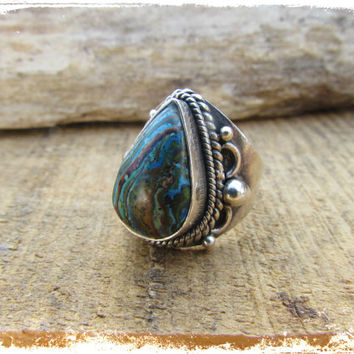 Sterling Silver Rainbow Calsilica Ring~Tear Drop Silver Gemstone Ring~Beautiful~Colorful Jewelry~Mdogstudios
