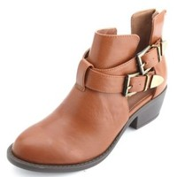 Cut-Out Double Buckle Ankle Booties by Charlotte Russe - Cognac
