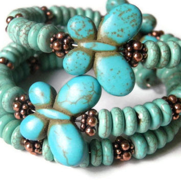 Wrap bracelet blue coral turquoise butterflies gift for her boho chic Spring Summer